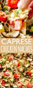 Caprese Chicken Nachos- Easy, super cheesy, and amazingly delicious Caprese Chicken Nachos loaded with mozzarella cheese, shredded balsamic chicken, sweet tomatoes, and fresh basil.