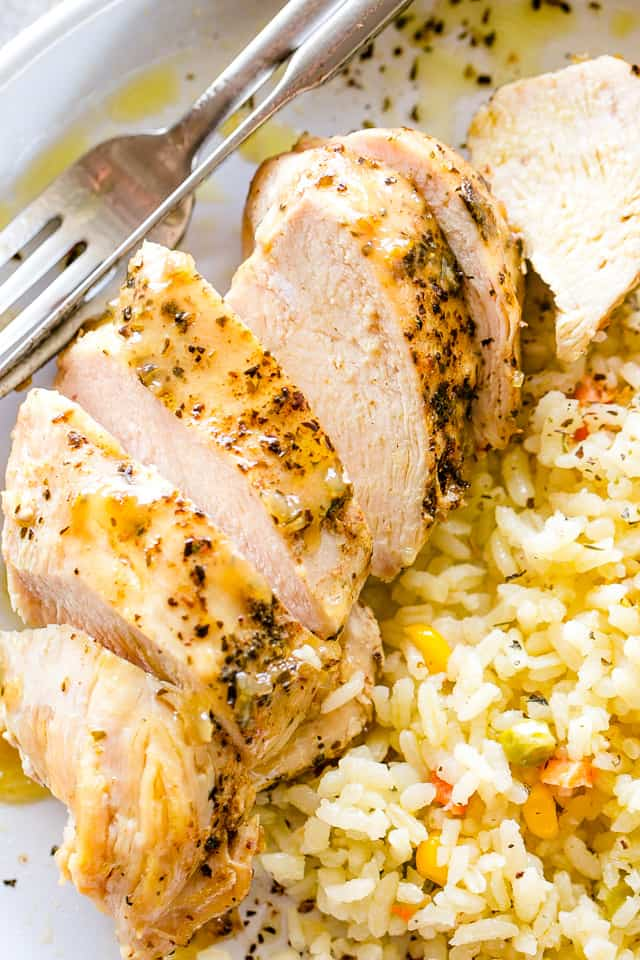 Tender and Juicy Instant Pot Chicken Breasts - How to cook deliciously seasoned, perfectly tender and juicy chicken breasts in the Instant Pot! Can be made with fresh or frozen chicken breasts.