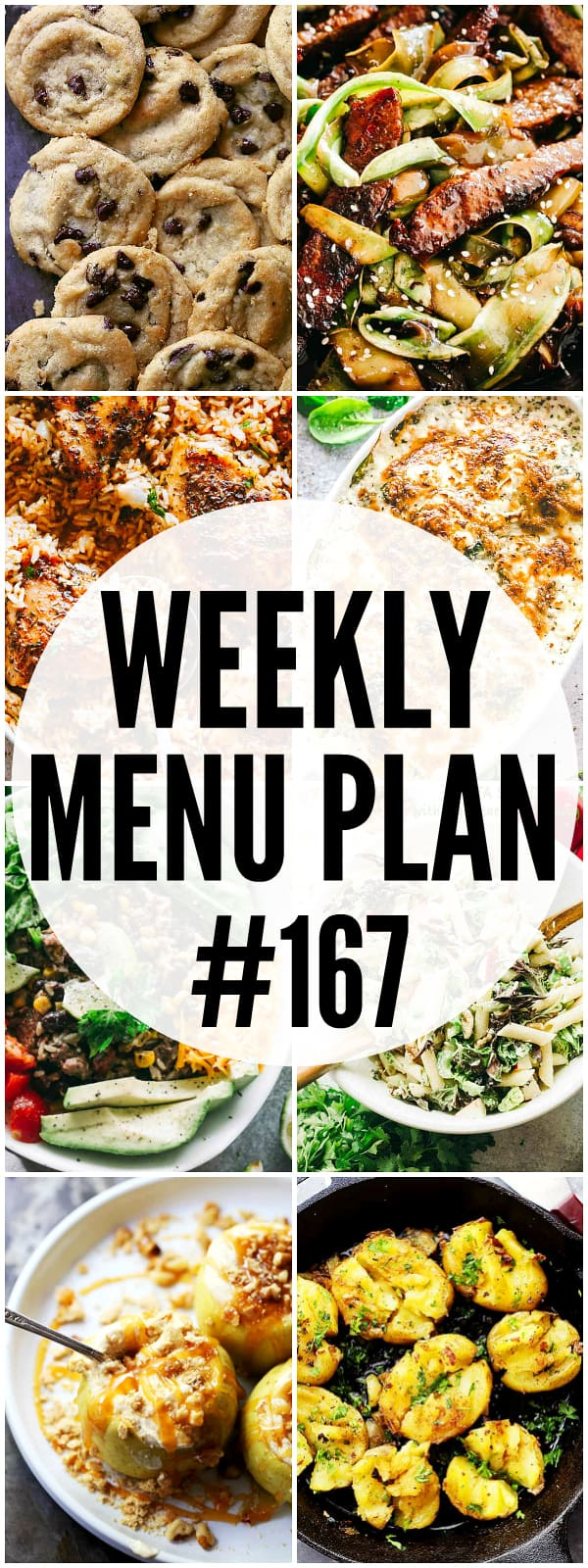 WEEKLY MENU PLAN (#167) - A delicious collection of dinner, side dish and dessert recipes to help you plan your weekly menu and make life easier for you!