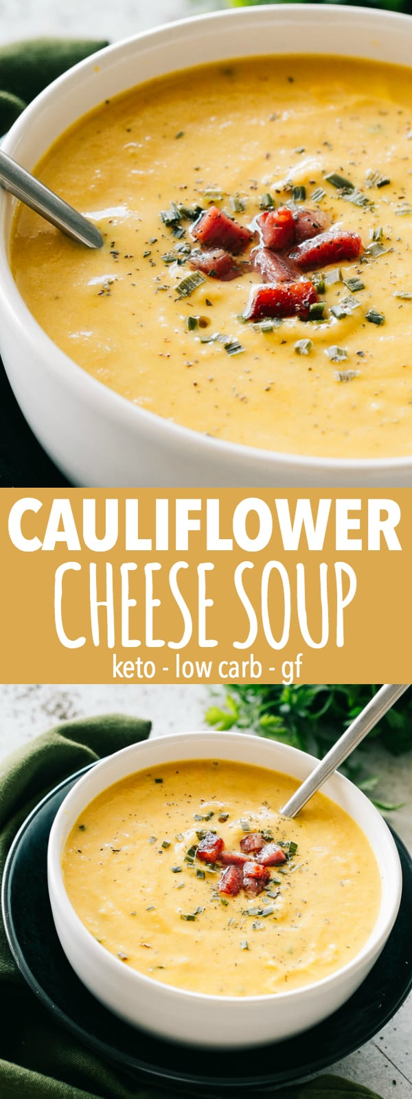 Cauliflower Cheese Soup – A wonderful twist on the classic cheese soup prepared with cauliflower, bacon, cheddar cheese, and a splash of cream. This soup will have everyone coming back for seconds. It's also Low Carb, Keto, and Gluten Free! #cheese #soup #cauliflower #cheesesoup #comfortfood #fallrecipes #bacon #keto #glutenfree #lowcarb #dinnerrecipes #vegetarian