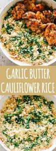 Garlic Butter Cauliflower Rice with Spinach - Easy, crunchy, incredibly flavorful Garlic Butter Cauliflower Rice is simple, healthy, and so surprisingly GOOD!