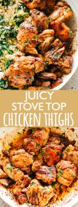 Juicy Stove Top Chicken Thighs - Perfectly golden, tender, and juicy skinless and boneless chicken thighs prepared on the stove top. These delicious pan seared chicken thighs make for a wonderful meal that's surprisingly easy, and the pan sauce is amazing!