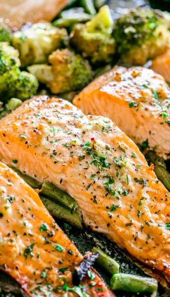 GARLIC BUTTER BAKED SALMON RECIPE