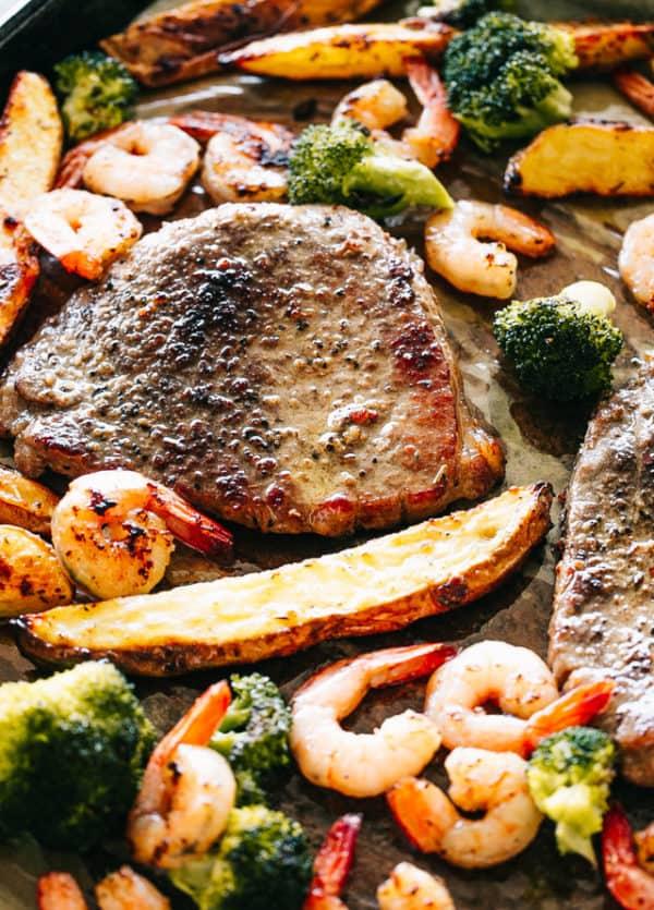 Sheet Pan Steak and Shrimp Dinner | Easy Steak Recipe + Dinner Idea