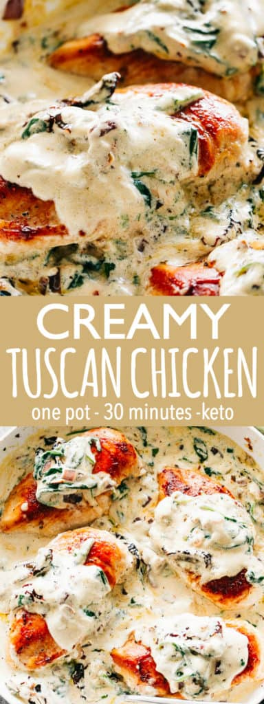 Creamy Tuscan Chicken - One pot, 30-minute dinner made with juicy seared chicken breasts served in a rich and creamy sauce chock full of sun-dried tomatoes, dried herbs, and fresh spinach.