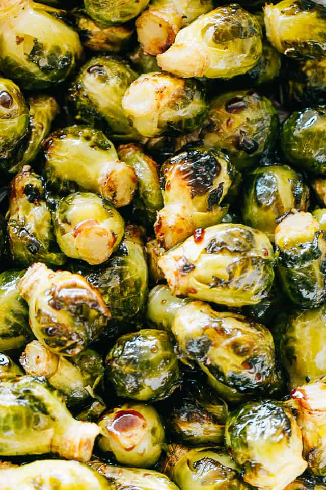 Oven Roasted Brussels Sprouts with Honey Balsamic Glaze