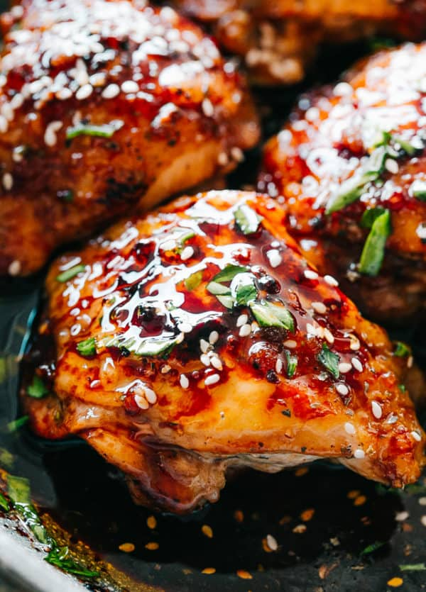 Instant Pot Sticky Chicken Thighs -  Tender, deliciously juicy, fall-off-the-bone chicken thighs prepared in the Instant Pot with a sweet and savory sticky sauce. A delicious chicken thighs recipe that's easy to make and tastes amazing!