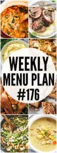 WEEKLY MENU PLAN (#176) -A delicious collection of dinner, side dish and dessert recipes to help you plan your weekly menu and make life easier for you!