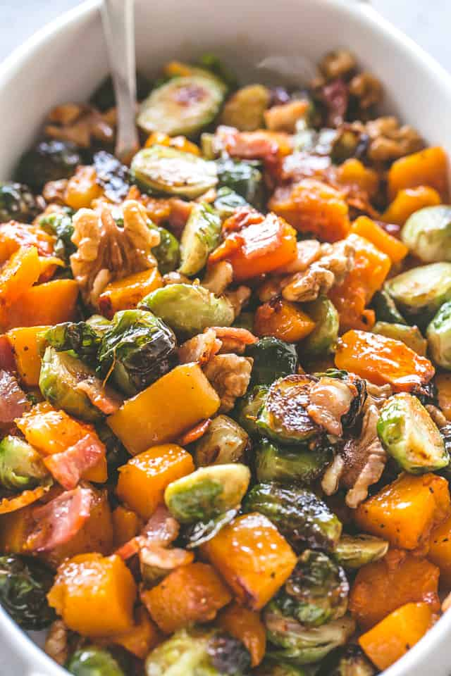 Maple Glazed Roasted Butternut Squash with Brussels Sprouts