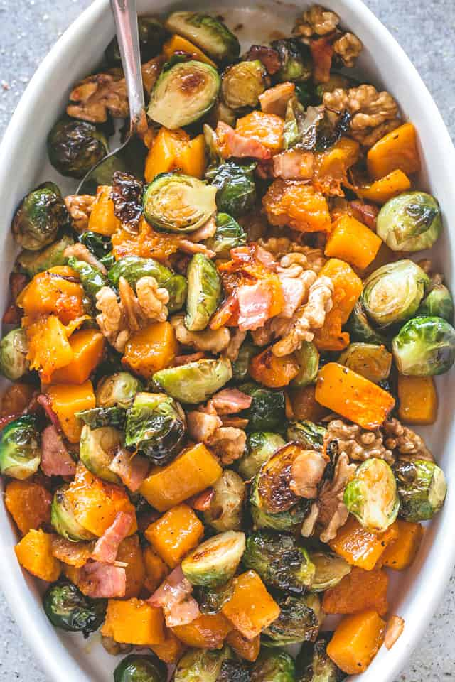 Roasted Butternut Squash and Brussels Sprouts Side Dish