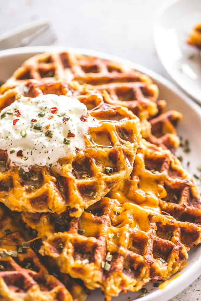 Cheesy Potato Waffles Recipe | How to Use Leftover Mashed Potatoes