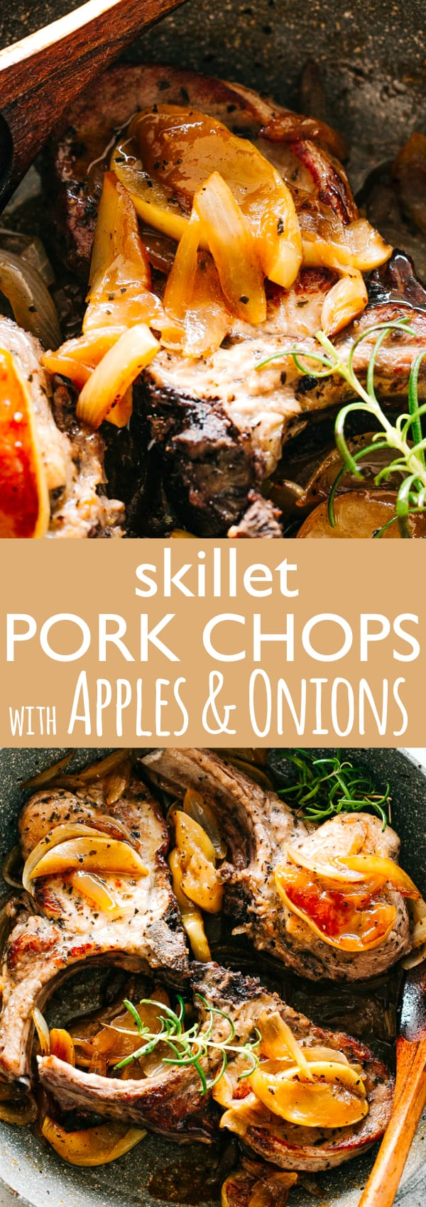 Skillet Pork Chops with Apples and Onions - Deliciously seared pork chops in a sweet and tart pan sauce, topped with tender sautéed apples and onions. An amazing, restaurant-quality meal perfect for busy weeknights.#pork #easyrecipes #easydinner #porkchops #apples #dinnerrecipes #30minutemeal
