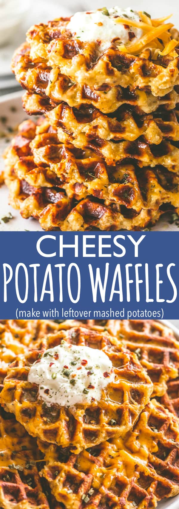 Cheesy Potato Waffles - Delicious, cheesy, and savory waffles prepared with leftover mashed potatoes and cheddar cheese. Crispy on the outside and fluffy on the inside, these potato waffles not only taste amazing, but they are a super fun meal to serve to your family. #potatoes #waffles #potatowaffles #cheese #leftovers #thanksgivingleftovers #mashedpotatoes #leftovermashedpotatoes #cheddarcheese #breakfast #brunch
