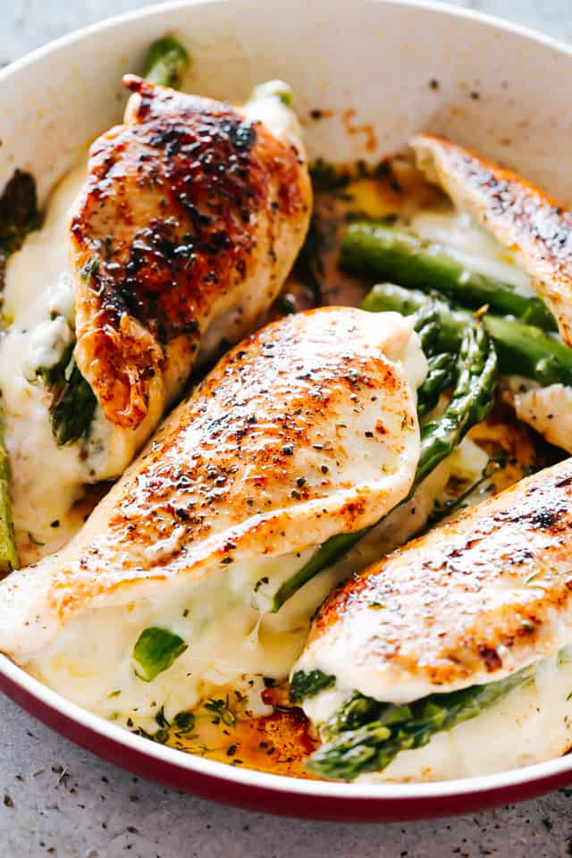 Cheesy Asparagus Stuffed Chicken Breasts