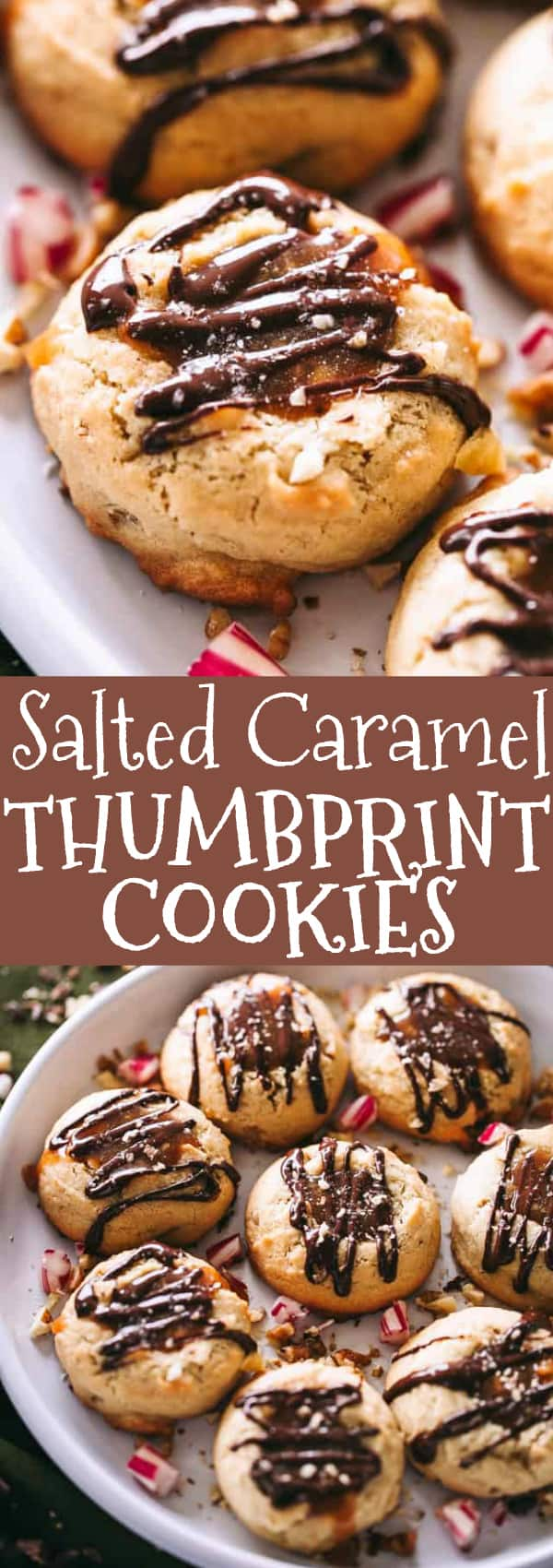 Salted Caramel Thumbprint Cookies - Thick, soft, chewy, and gooey Thumbprint Cookies filled with caramel, drizzled with chocolate, and sprinkled with salt. #thumbprintcookies #caramel #chocolatecookies #chocolaterecipes #christmascookies #dessertrecipes #christmas