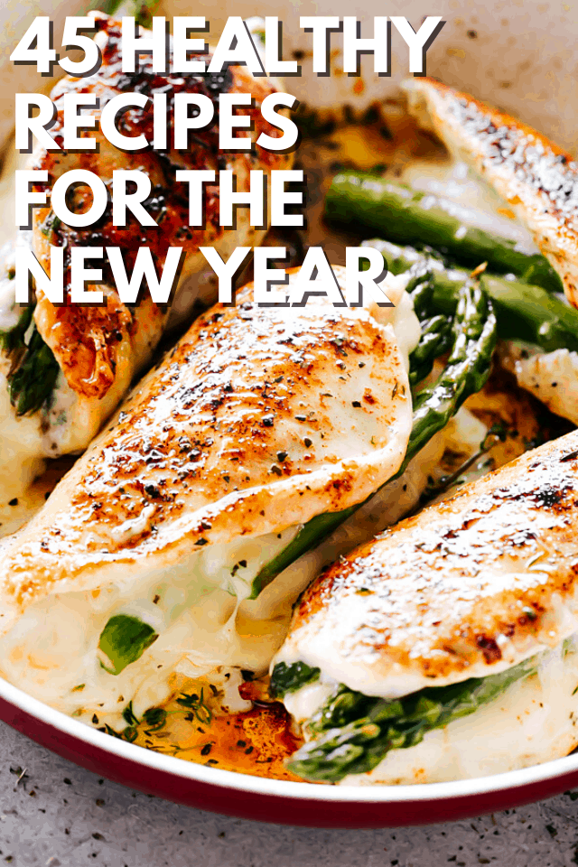 picture of asparagus stuffed chicken breasts with overlay text