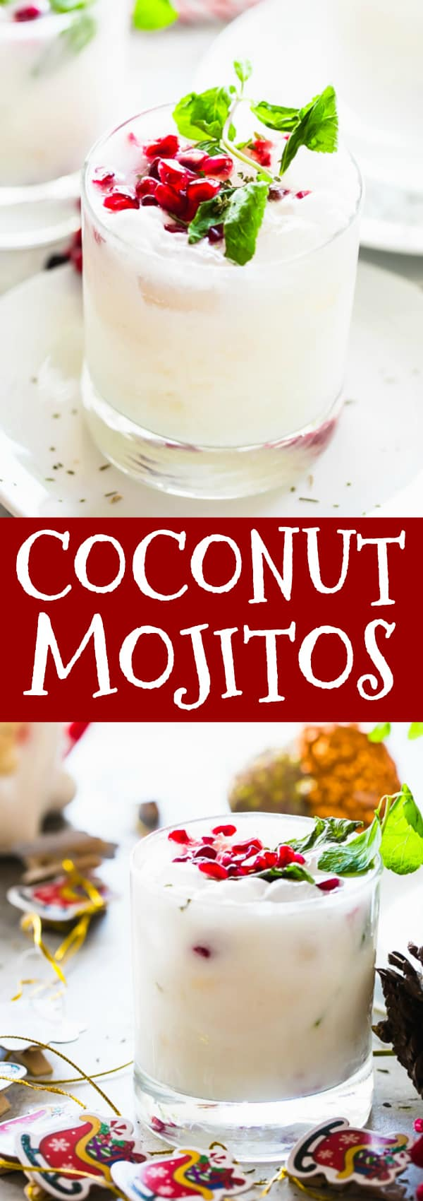 Coconut Mojitos - A white winter twist on the classic Mojito flavored with coconut cream, fresh mint, rum, and lime juice, and served with a garnish of pomegranate seeds for a festive touch. #mojitos #christmas #christmasdrinks #holidays #holidaycocktails #pomegranates #coconuts #christmascocktail