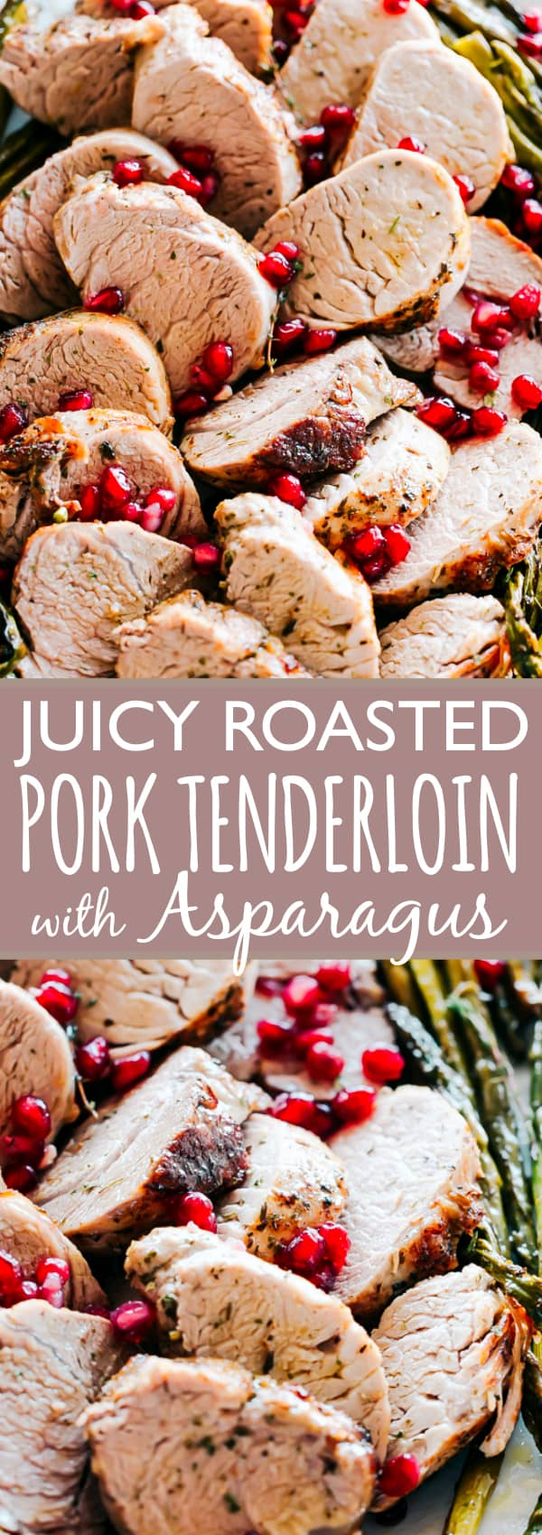 One Pan Roasted Pork Tenderloin with Asparagus - The ease of one pan and the delicious flavors of pork paired with asparagus make this recipe a wonderful meal that results in an incredible, tender and juicy dinner in just 30 minutes. An effortless meal perfect for busy weeknights, but also fancy enough for a Holiday dinner. #pork #porktenderloin #holidays #christmas #christmasdinner #asparagus #onepanmeal #dinnerrecipes