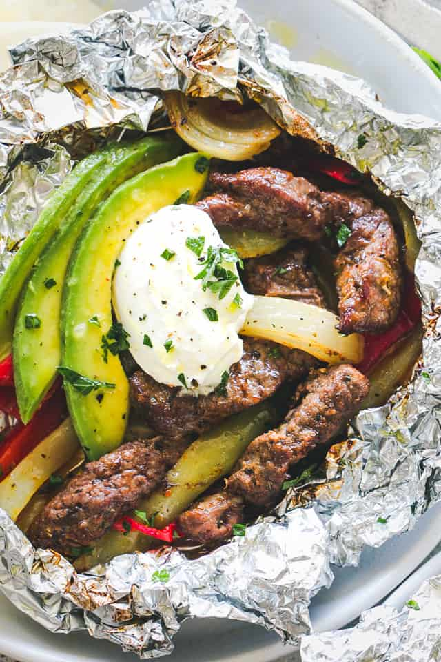 Chili Lime Steak Fajitas in Foil Packs
