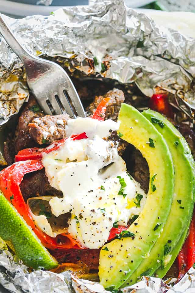 Foil Pack Chili Lime Steak Fajitas