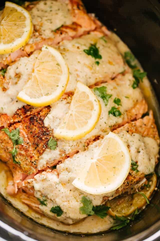Slow Cooker Salmon with Creamy Lemon Sauce | Easy Salmon Recipe