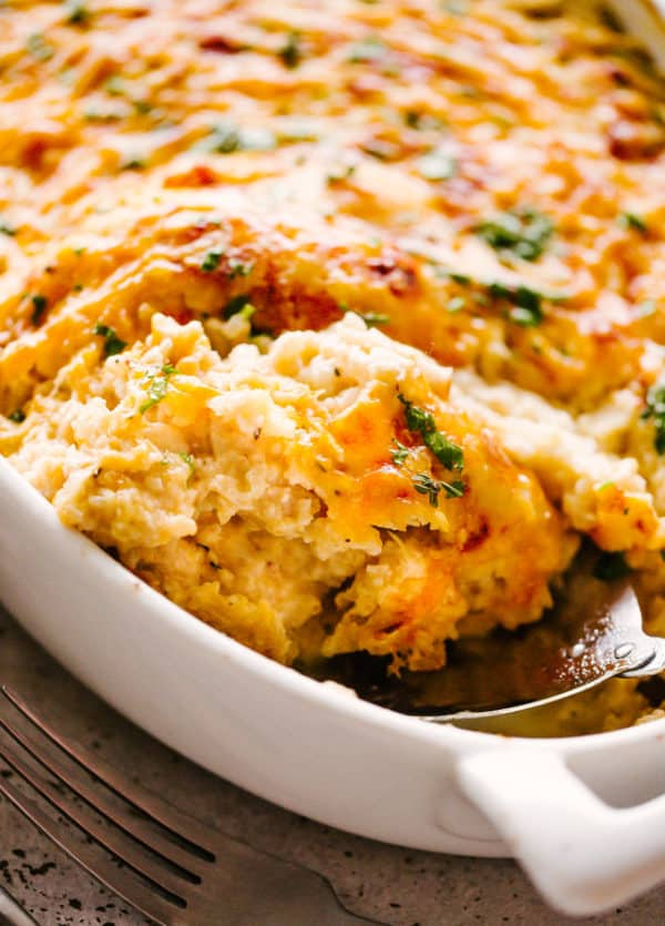 Cheesy Chicken and Cauliflower Rice Casserole