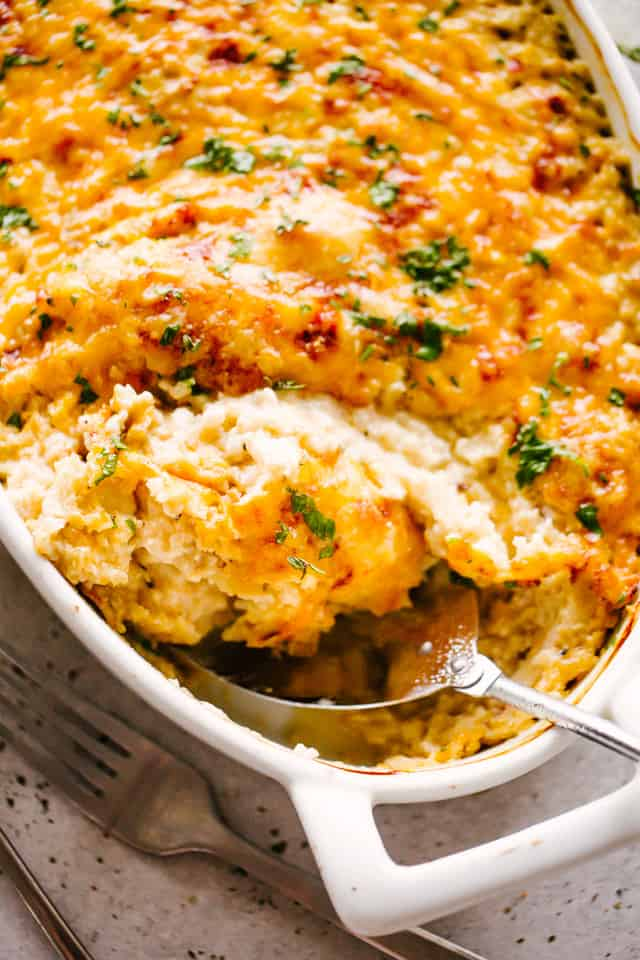 Cheesy Chicken Cauliflower Rice Casserole
