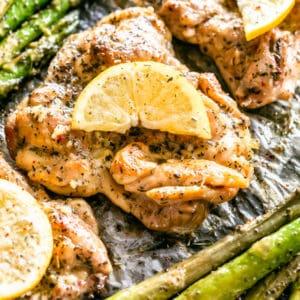 One Pan Lemon Garlic Butter Chicken Thighs & Asparagus | Dinner Idea