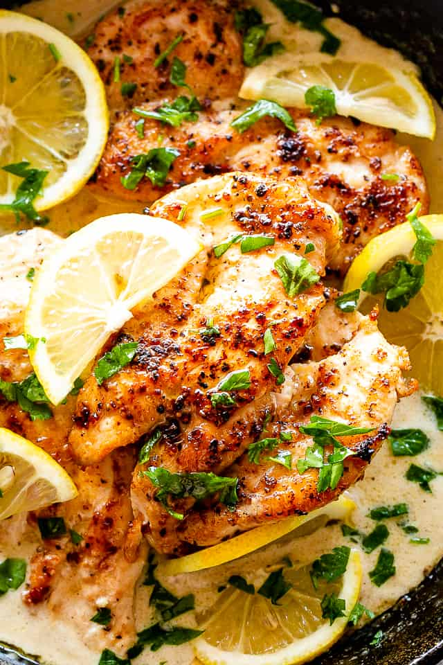 Creamy Lemon Parmesan Chicken in a skillet
