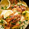 Pan seared chicken breasts with lemon cream sauce