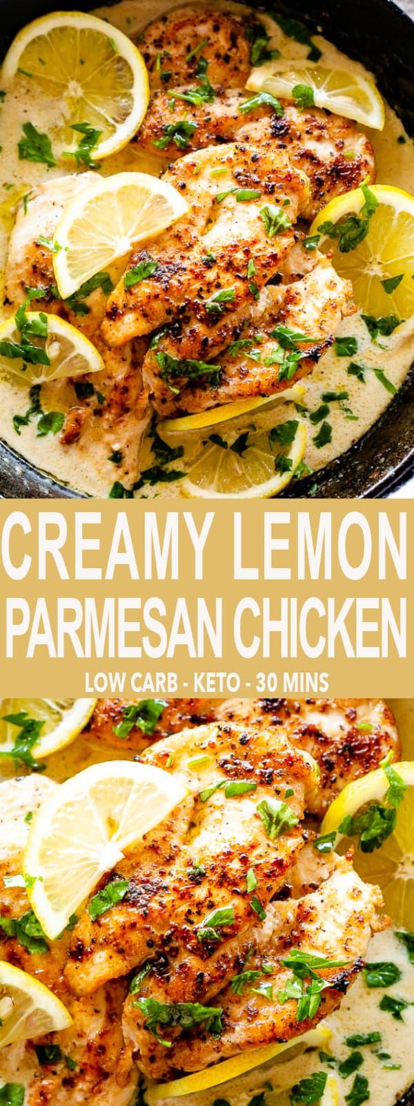 Creamy Lemon Parmesan Chicken Collage Pin