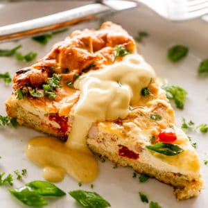 Slice of Cauliflower Crust Breakfast Quiche