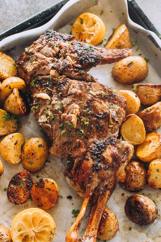 Roasted leg of lamb with potatoes