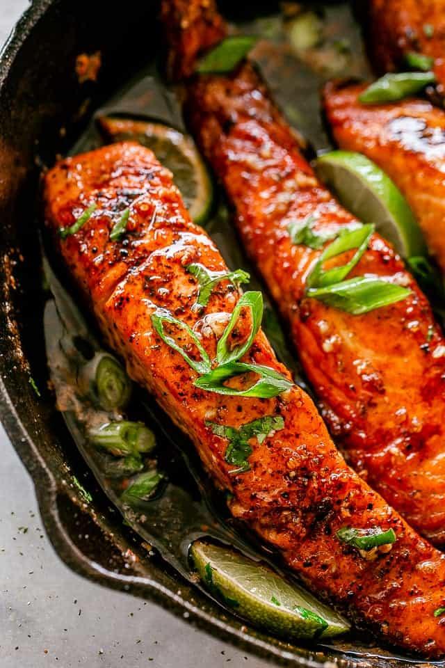 Pan fried salmon fillets.