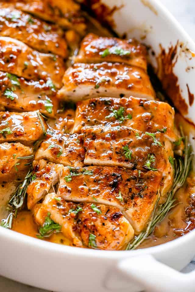 Cut honey mustard chicken