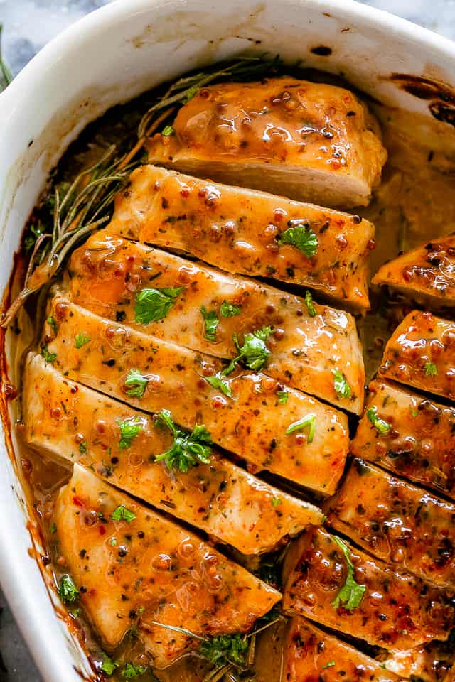 Honey Mustard Chicken cut in pieces.