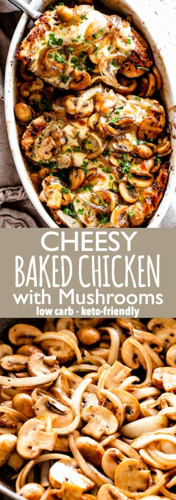 Cheesy Mushroom Baked Chicken Pinterest Collage