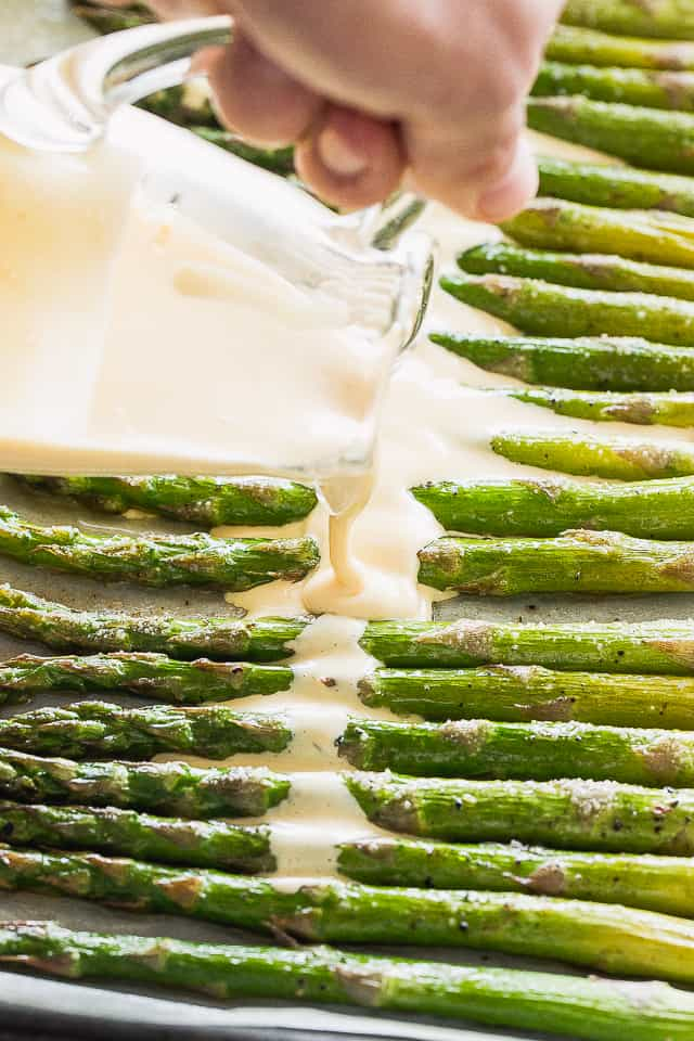 Hollandaise Sauce over Asparagus