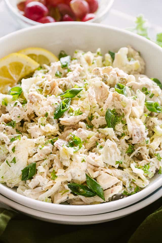 Salad with chicken, celery, and dill pickles.