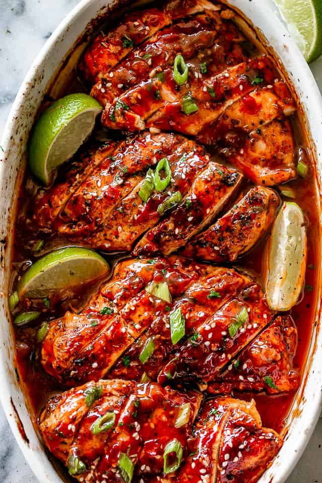 Honey Sriracha Chicken in baking dish.