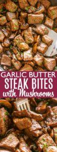 Garlic Butter steak bites pin image.