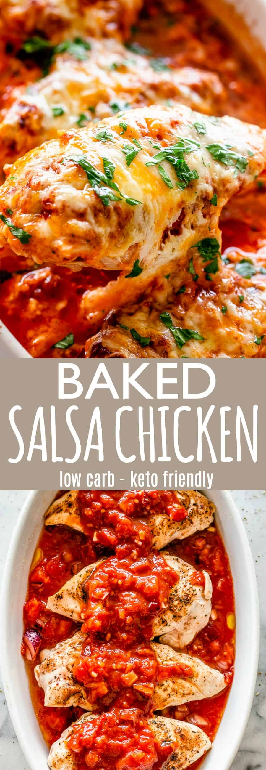baked salsa chicken pin image