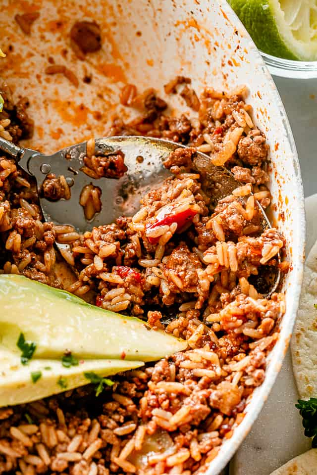 Easy Taco Beef And Rice Skillet Diethood