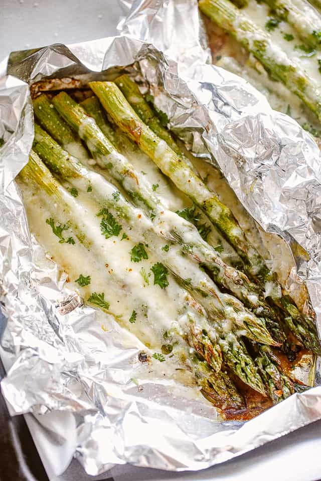 Foil packs with cheesy asparagus.