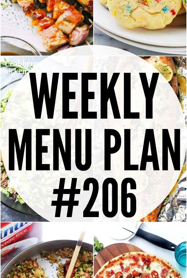 Weekly Menu Plan 206 Pin image