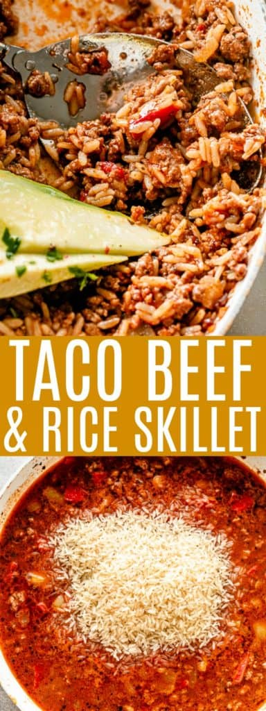 Taco Beef Rice Skillet pin image.