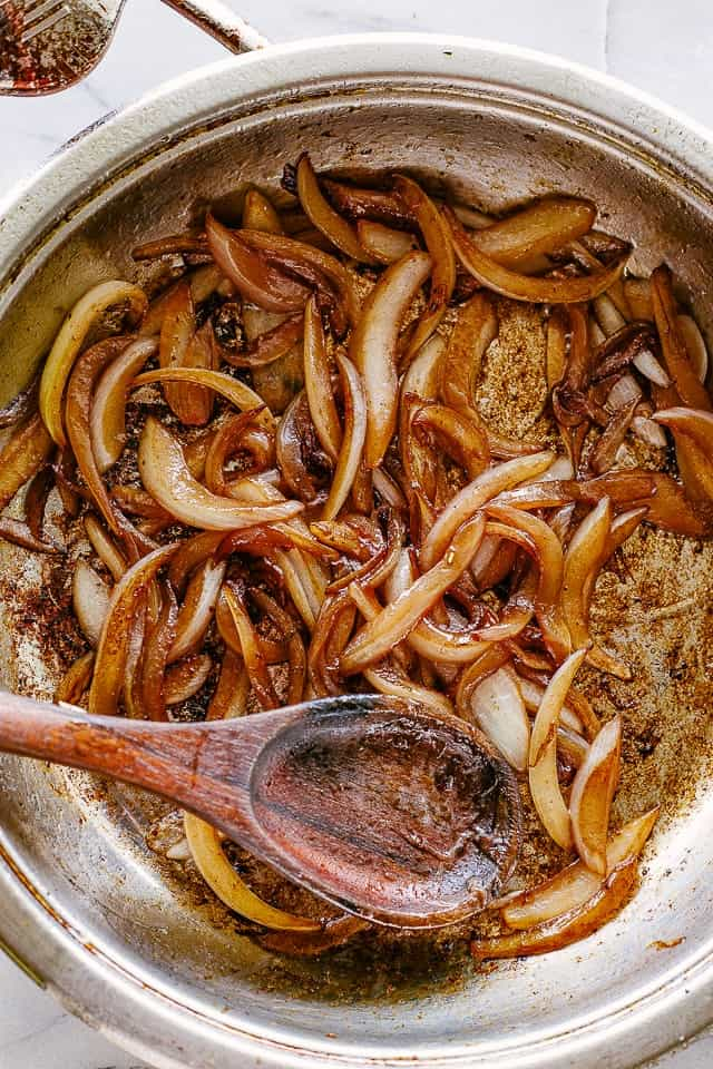 Caramelized Onions in a skillet.