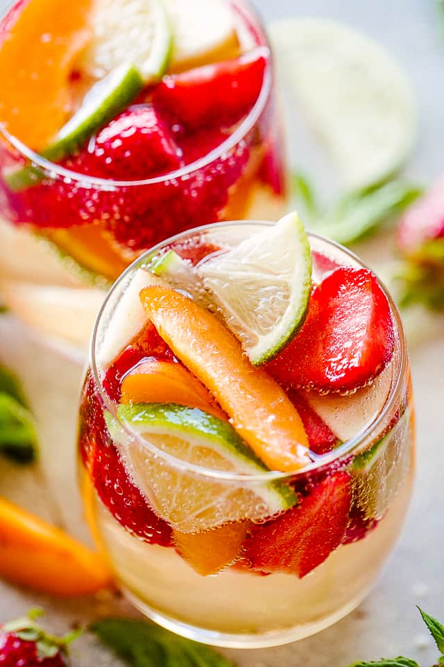 Sangria with fruit served in a glass.