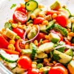 Tomato Avocado Corn Salad with Lime-Cumin Vinaigrette