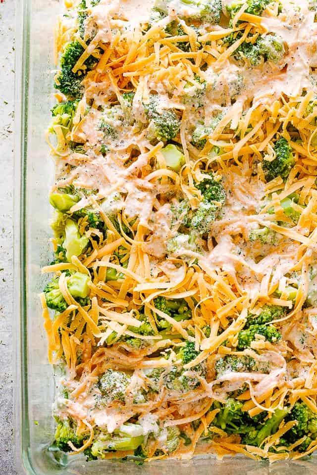 Broccoli casserole uncooked.